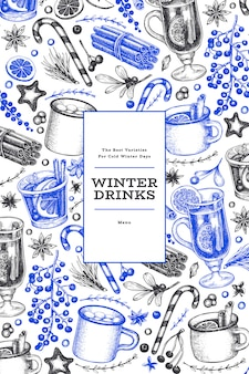 Winter drinks blue and black template.