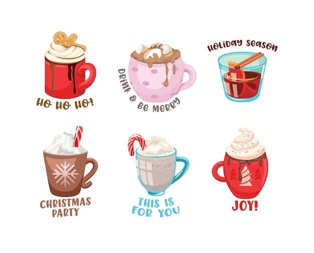 Winter drinks icons set. cups with hot beverage and decoration for wintertime season holidays. cartoon mugs of cocoa with marshmallow, coffee with cream, tea with lemon, cinnamon. vector illustration