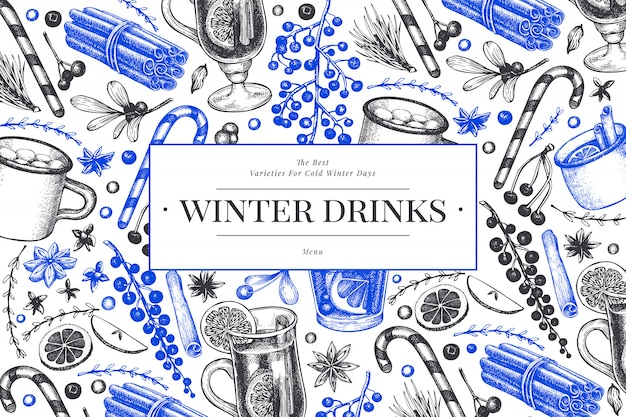 Winter drinks   template. hand drawn engraved style mulled wine, hot chocolate, spices illustrations. vintage christmas background.