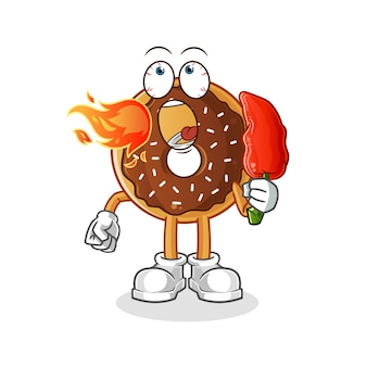 Зимняя земля ест талисман горячего перца чили. мультфильм