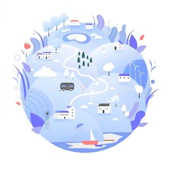 Зимняя иллюстрация планеты земля. мультяшный синий глобус с природой, сельский пейзаж сельскохозяйственных угодий в зимнее время, спасти концепцию экологии планеты земля, экологический день земли на белом