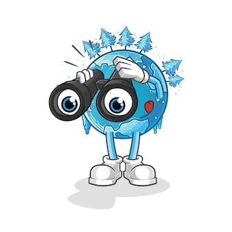 双眼鏡のキャラクターを持つ冬の地球。漫画のマスコット