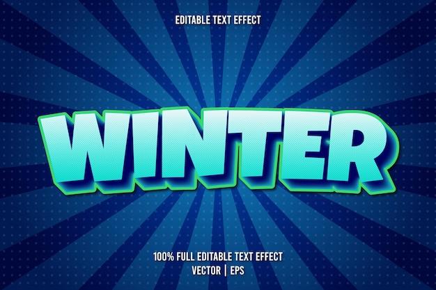 冬の編集可能なテキスト効果コミックスタイル