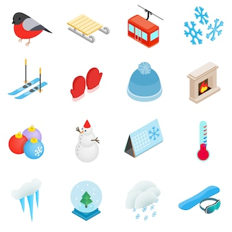 Winter elements icons set