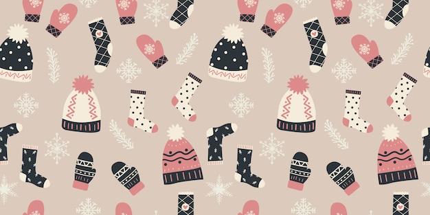 シームレスパターンの冬の要素
