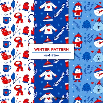 Winter elements pattern collection