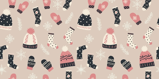 Winter elements in seamless pattern