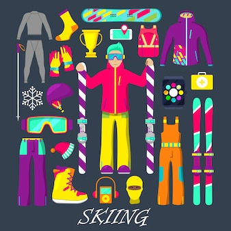 Winter equipment for skiing icons set with man, skiing, clothes and goggles.  illustration