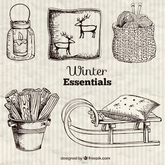 winter essentials in hand drawn style
