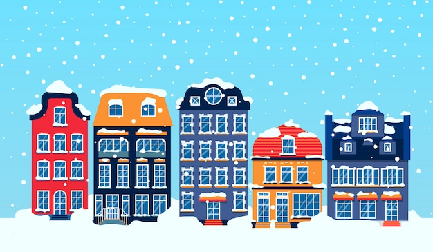 Winter european snowy street with houses sky flat cartoon card. merry christmas and happy new year panoramic horizontal banner with buildings. xmas holidays urban cityscape