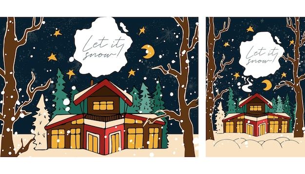 Winter evening snow template banner design in vector vertical and horizontal format