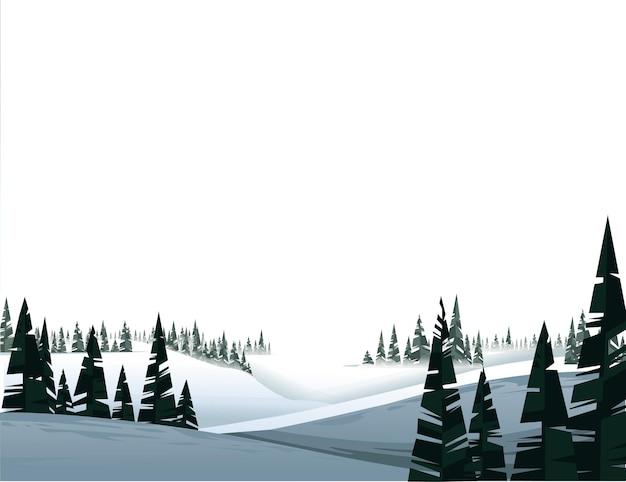 白い背景の図の冬の常緑針葉樹林の風景