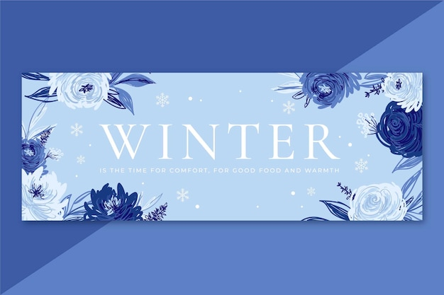 Winter facebook cover with flowers