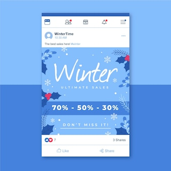 Modello di post facebook invernale