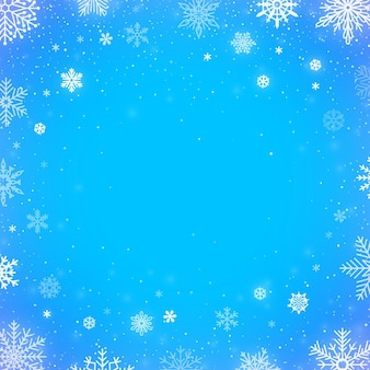 Winter falling snow blue background. christmas or new year border decoration. winter season snowfall for decoration or greeting and invitation cards design. flakes template vector illustration