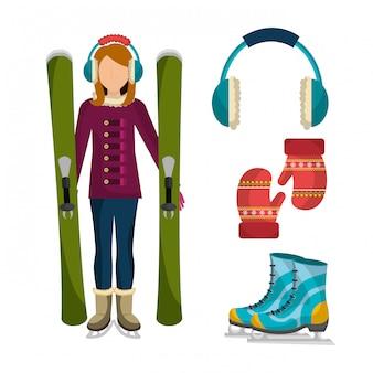 Зимняя модная одежда и аксессуары