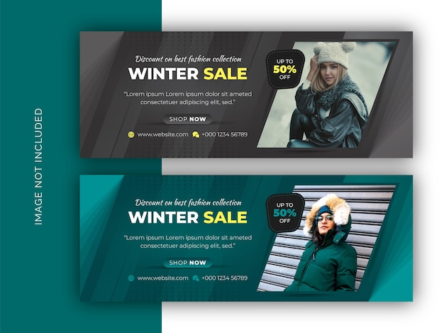 Winter fashion sale social media web banner, flyer and facebook cover photo design template