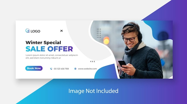 Winter fashion sale web banner and facebook cover template