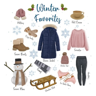 Winter favorites hand drawn collection  illustration