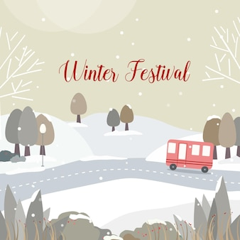 道と雪に覆われた森のある冬祭り