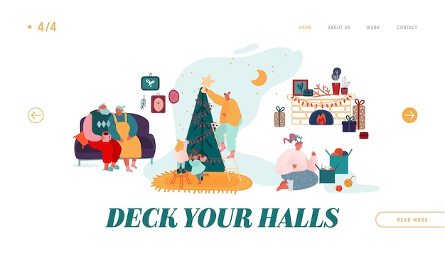 ウィンターフェスティブシーズン、クリスマスセレブレーションウェブサイトのランディングページ。クリスマス休暇を祝います。人々のキャラクター、家やクリスマスツリーを飾る、プレゼントのwebページバナーを与える。