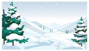 Winter fields with falling snow illustration