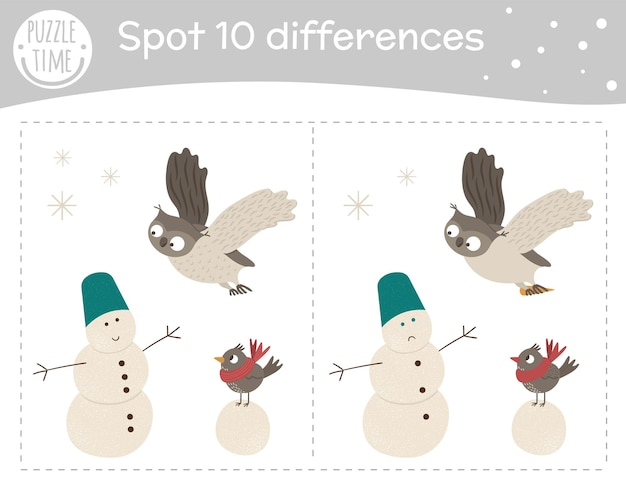 Winter find differences game for children.