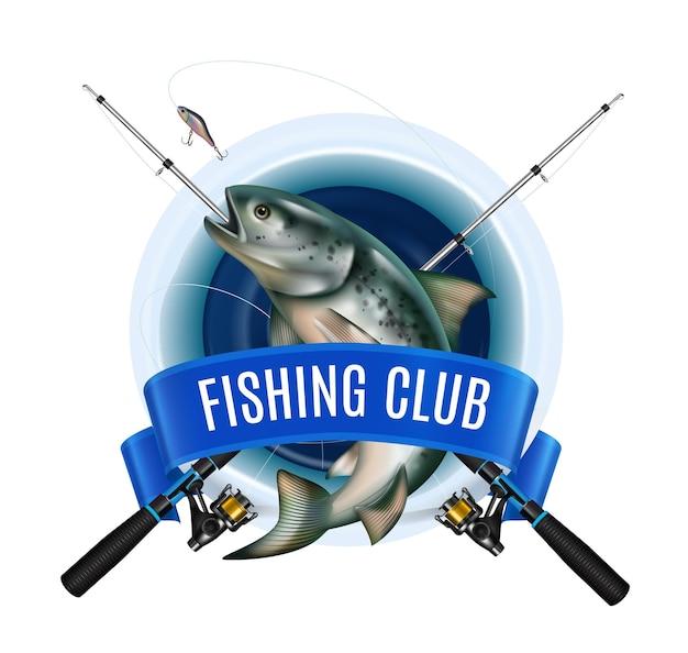 Эмблема зимнего рыболовного снаряжения с реалистичным изображением рыбы и скрещенных удочек с лентой и текстом