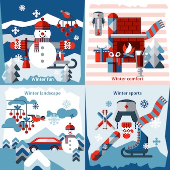 Winter flat elements composition set