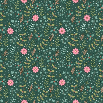 Winter flora and snowflake seamless pattern vector background