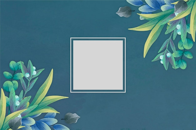 Winter floral background with empty badge