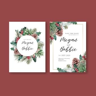 Carta dell'invito di nozze elegante di fioritura floreale di inverno per l'annata della decorazione bella