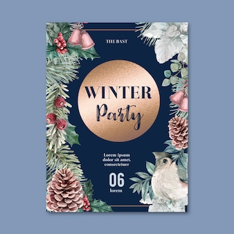 Winter floral blooming poster, postcard elegant for decoration vintage beautiful