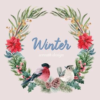 Winter floral blooming wreath frame elegant for decoration vintage beautiful