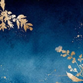 葉の水彩イラストと青の冬の花のボーダー背景ベクトル