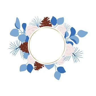 Winter floral frame wedding decorative round frame