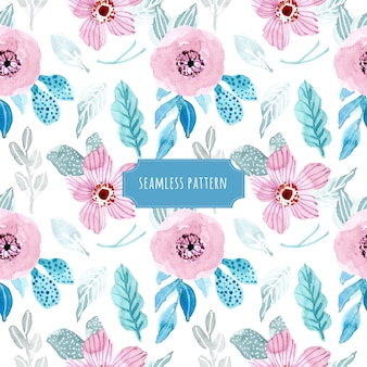 Winter floral watercolor seamless pattern