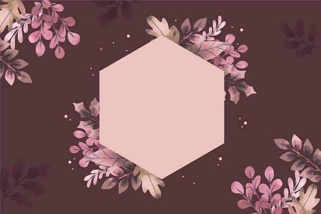 Зимние цветы фон с пустой значок рисованной