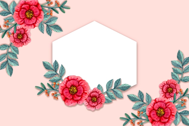 Winter flowers background with empty badge