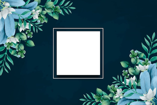 Winter flowers background with empty spot