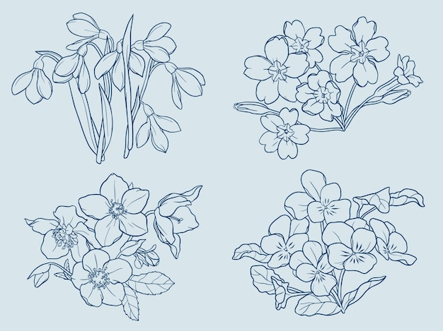 Winter flowers outline