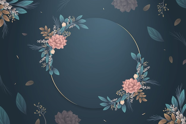 Winter flowers wallpaper with empty badge