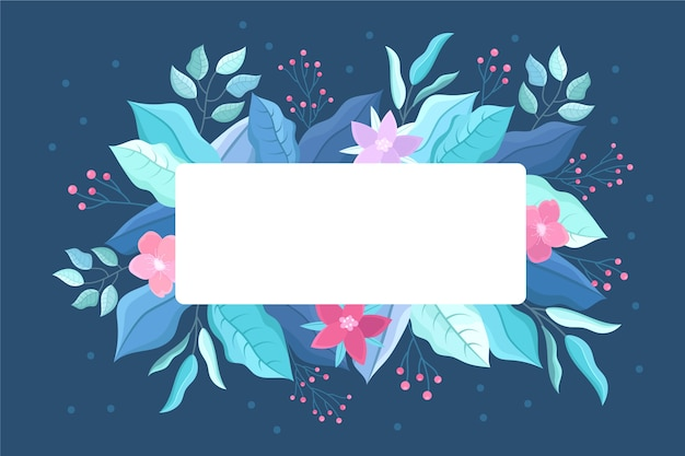 Winter flowers with empty banner