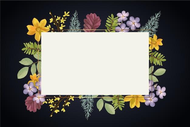空のバナーと冬の花