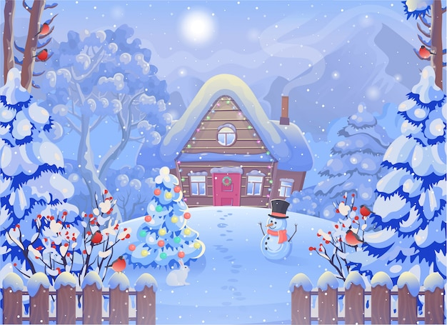 Winter foggy forest landscape with wooden house, mountains, snowman, fence, christmas tree, rabbit, bullfinch, sun. vector drawing illustration in cartoon style. christmas card.
