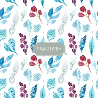 Winter foliage watercolor seamless pattern