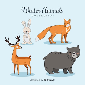 Winter forest animal collection