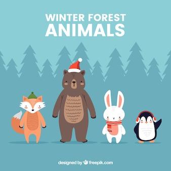 Коллекция зимних лесных животных в плоском дизайне
