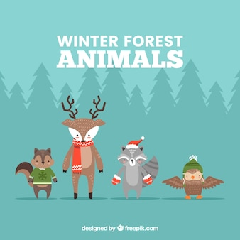 4つの冬の森林動物のコレクション