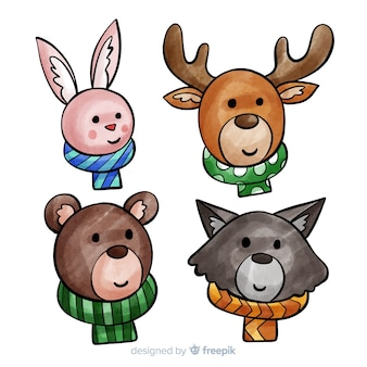 Winter forest animals collection